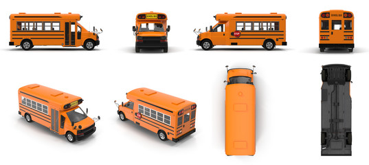 Yellow small school bus renders set from different angles on a white. 3D illustration