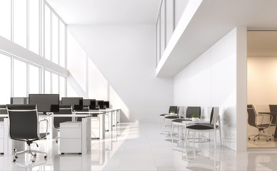 Wall Mural - Modern white office 3d render.The room has a high ceiling and a mezzanine.Furnished with black furniture .There are large windows looking out to see the scenery outside.