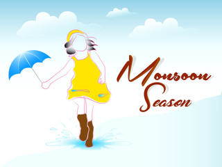 nice and beautiful abstract, banner or poster for Monsoon Season, Rainy Season or Happy Monsoon with nice and creative design illustration in a background.