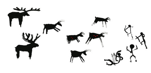 A group of primitive people hunts a herd of hoofed animals of deer and moose. Stylization of cave rock art. Isolated on white background