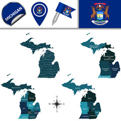 Map of Michigan with Regions