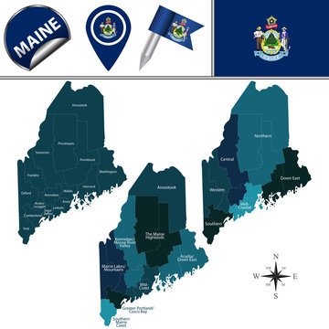 Map of Maine with Regions