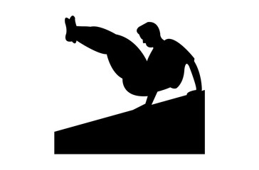 A person jumping over a wall in parkour style