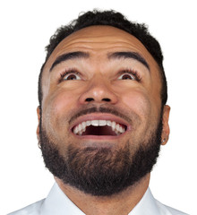 Close up portrait of a black man expressing surprise isolated on white background