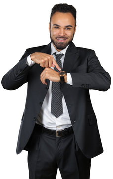 Black man businessman worrying about deadline. Time management concept