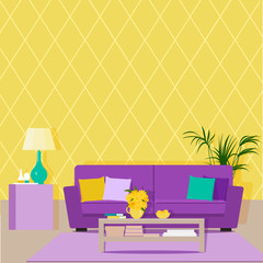 Bright design of the living room with yellow wallpaper and purple sofa. Vector flat illustration.