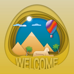 Welcome to Egypt travel concept emblem. Pyramids, statue of sphinx, palm trees and hot air balloon. Tourist label illustration in paper cut style.