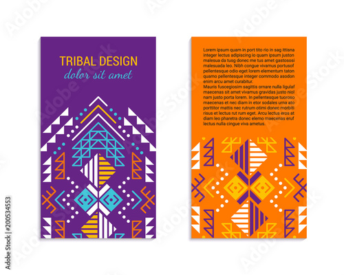 Aztec colorful ornamental vertical card template. American indian ...