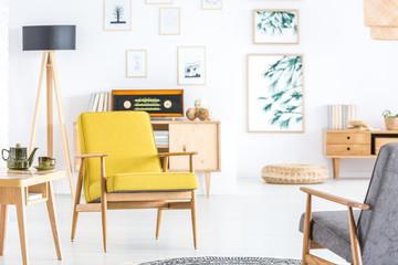 Retro yellow living room interior