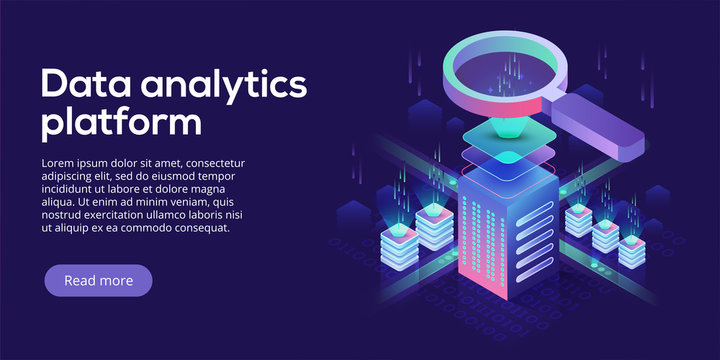 Data analytics platform isometric vector illustration. Abstract 3d hosting server or data center room background. Network or mainframe infrastructure website header. Computer storage or workstation.