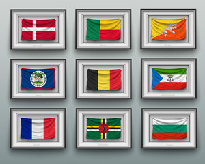 waving flags in picture frame on the wall