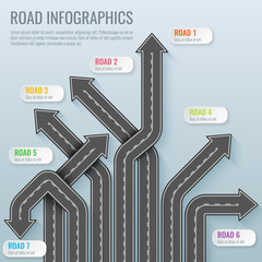 Infographics template with road map. Top view vector elements. Road trip. Business and journey infographic design template. Winding road on a gray background