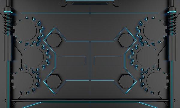 sci fi door digital  background 3D rendering