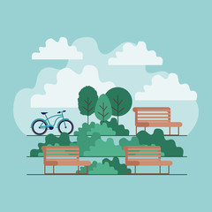 park scene with chair and bicycle