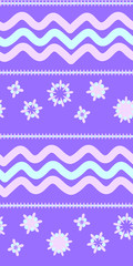 Cute seamless pattern with waves   in retro style. Round shapes, vector illustration. Textile design, wrapping paper.