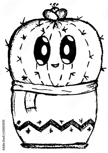 Cute Shy Cactus Cartoon Easy Doodle Image Stock Image And Royalty