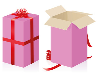 Pink gift pack with red ribbons for mothers day or valentines or just for your girlfriend - closed and opened high size present carton box - isolated 3d vector illustration on white background.