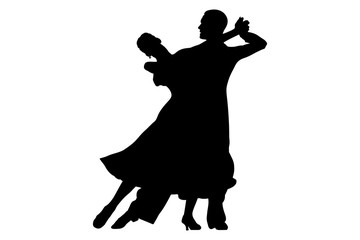 ballroom dancing black silhouette pair women and men dancer
