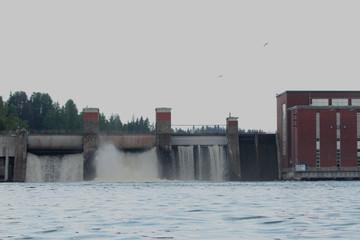 Lesogorskaya hydroelectric power station, near Svetogorsk town, The Leningrad Region, Russia.