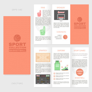 Tri-fold basketball brochure template. Good for advertising and information printed products.