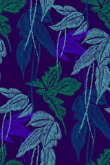 Tropical leaves seamless background pattern. Vector illustration hand drawn. Embroidery design.