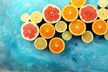 Citrus fruits with orange, lemon, grapefruit and lime