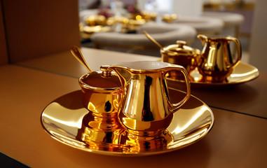 Gold kitchenware is seen in the President Suite of Golden Bay Danang hotel in Danang city