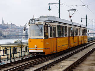 The yellow tram at Budapest.