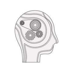 head profile human with gears