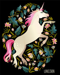 Beautiful unicorn Vector magic print background for t-shirt design.