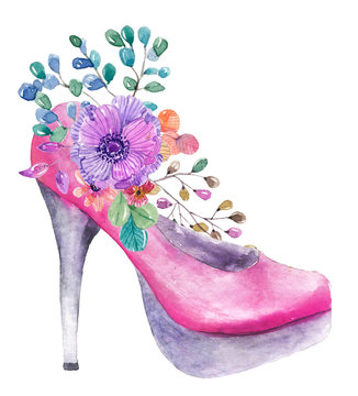 Beautiful watercolor high heel shoe with flowers