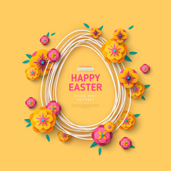 Egg shape frame and flowers on yellow