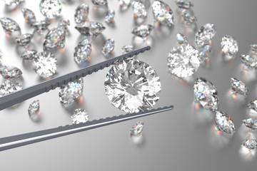 3D rendering Luxury diamonds in tweezers on white background