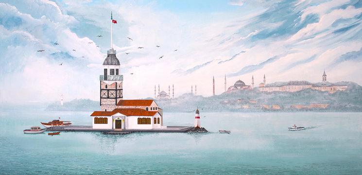 Paint of Kiz Kulesi or Maiden's Tower in Istanbul - TURKEY