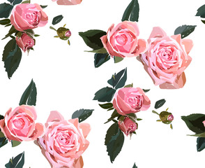Floral seamless background pattern. Watercolor pink garden roses in hand drawn style. Elegant flowers, vector illustration for textile, wrapping paper, wedding card.
