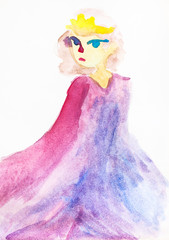 girl with yellow hair in pink long cloak