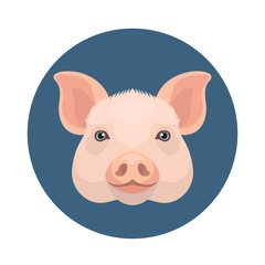 Vector simple flat style cute pig face farm animal icon simbol of new year 2019