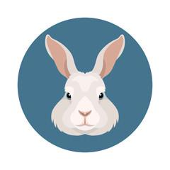 Vector white rabbit or bunny farm animal icon