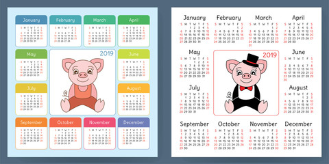 Calendar 2019. Pig. Cartoon piggy. Chinese horoscope. Week starts on Sunday