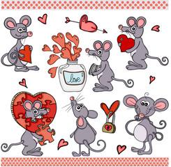 Cute love mouse set digital elements