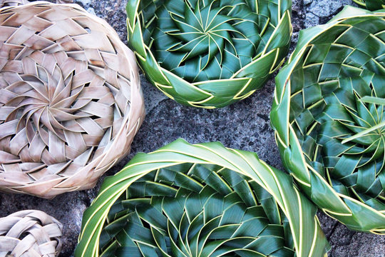 coconut palm leaf leaves Basket bowls woven out of palm leaves in Caribbean Antigua also common in Asia and Thailand