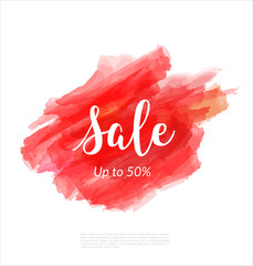 Sale artistic banner template design on red sketch background. Special offer, colourful letters for discount