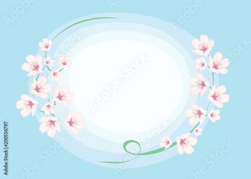 Greeting card for spring invitation vector illustration with greeting card for spring invitation vector illustration with branches of pink flowers sakura on blue stopboris Choice Image