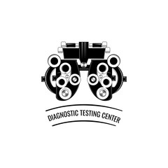 Phoropter, ophthalmic testing device machine icon.  illustration.