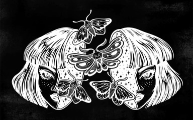 Girl with a head full of dreamy moth butterflies.