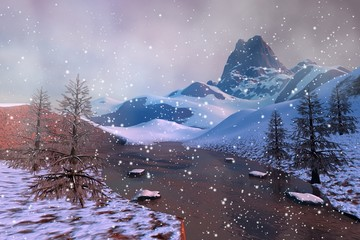 Snow, an alpine landscape, rocks, stones and trees and a beautiful lake.
