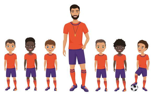 Little school kids football team with a coach. Vector illustration.