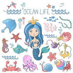Marine life illustrations set. Little cute cartoon mermaid princess siren with sea ocean fishes and others animals.