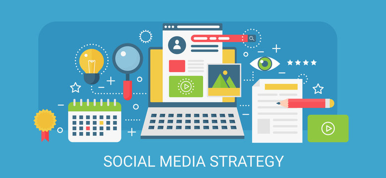 Flat modern vector concept Social media strategy banner with icons and text.