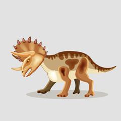 Vector cartoon  illustration of a dinosaur.  Triceratops.